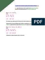 Solución Dual óptima a partir de la solución óptima del problema Primal