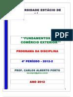 FUND. COMÉRCIO EXTERIOR - ESTÁCIO - PROGRAMA - 2012-2