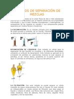 MÉTODOS DE SEPARACIÓN DE MEZCLAS