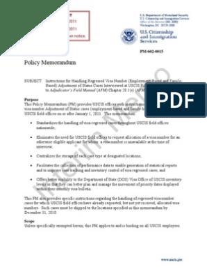memo   Permanent Residence (United States)   United States