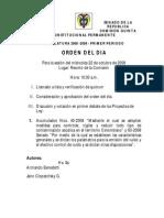 Orden Del Dia Comision Quinta 22 de Octubre