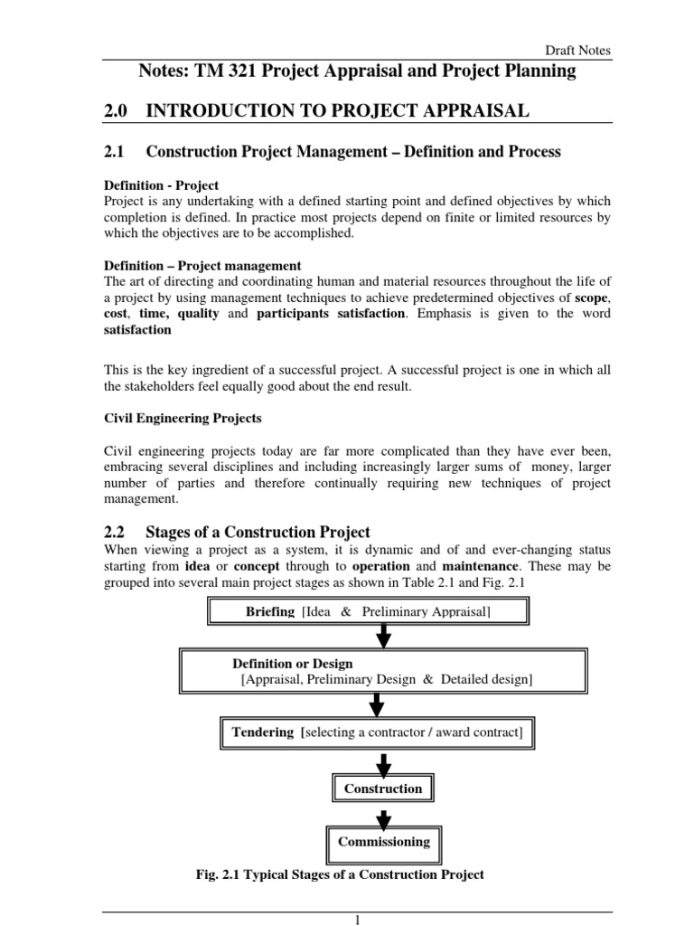 Engineering and construction project with money - Introduction To Project Appraisal Project Management Real Estate Appraisal