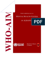 Who-Aims Report on Mental Health System in Albania