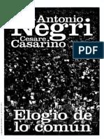 105642241 2012 Antonio Negri y Cesare Cesarino Elogio de Lo Comun Conversaciones Sobre Filosofia y Politica