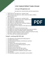 Occupation List for Federal Skilled Trades Stream
