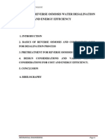 Study on Reverse Osmosis Water Desalinationfor Cost and Energy Efficiency