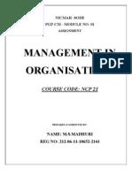 Organisation Mgmt - NICMAR NCP-21