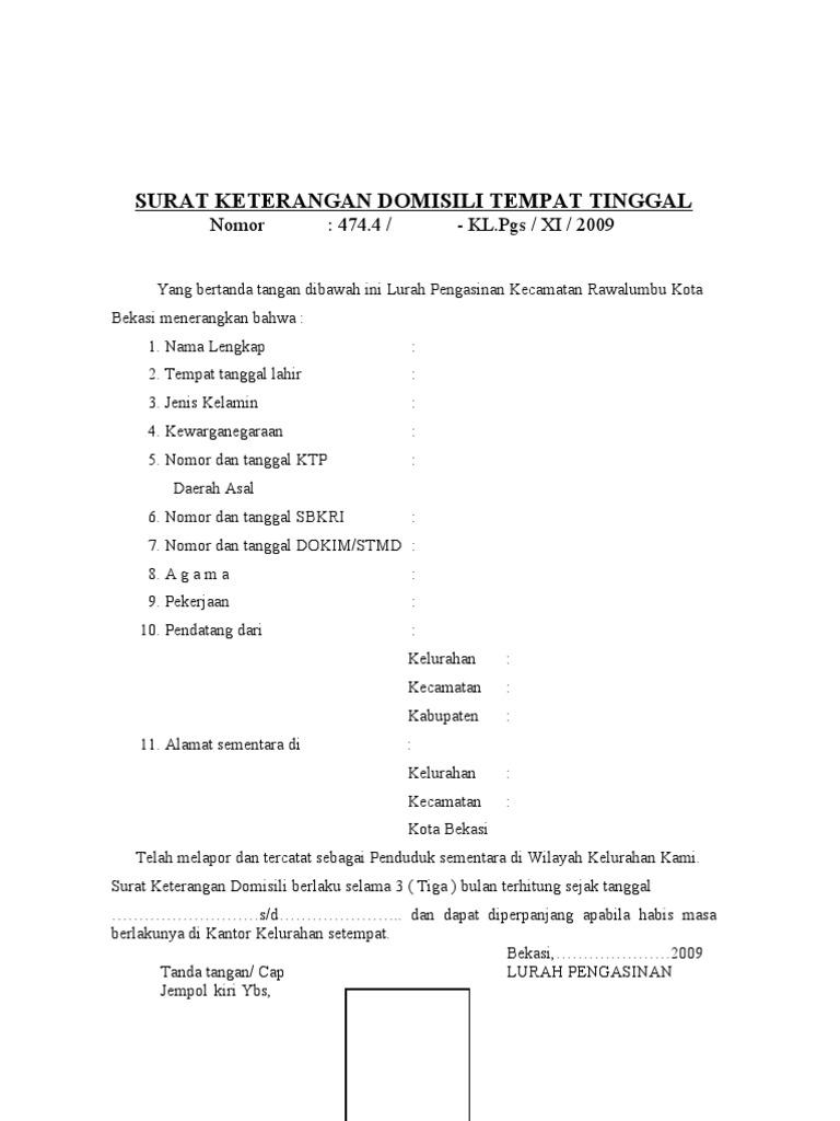 Contoh Surat Domisili Informasi Seputar Dunia Militer Dan
