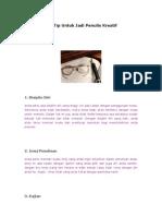 Tip Penulisan Kreatif