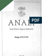Anali Gazi Husrev-begove biblioteke u Sarajevu, knjiga 17-18 - 1996