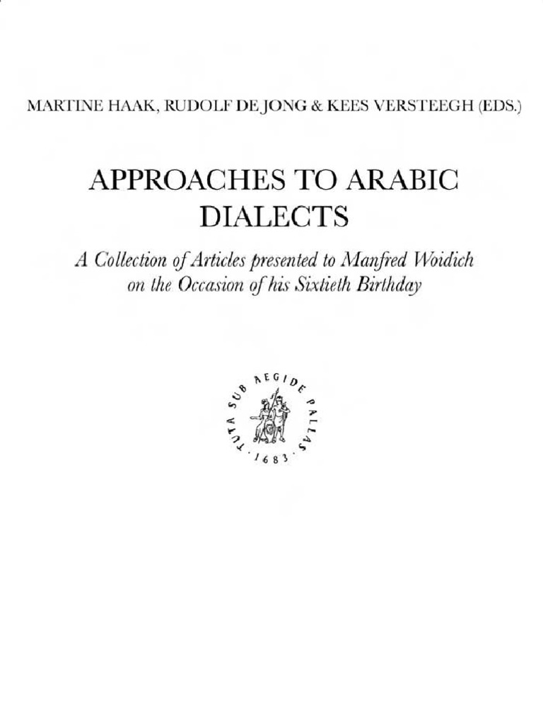 Approaches To Arabic Dialects Versteegh Dialectology