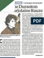 Marianne DURANTON défie Marjolaine RAUZE - Le Parisien - 25 01 13