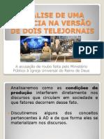 ANÁLISE DE UMA NOTÍCIA NA VERSÃO DE DOIS