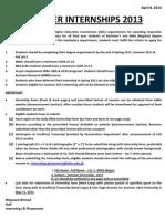 April 8, 2013, Notice for Summer 2013 Internship