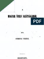 Gyergyai Ferenc - A magyar nyelv sajátságairól 1856.