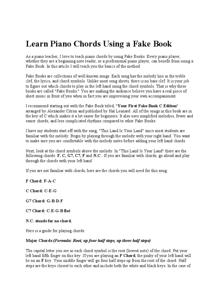 Learn piano chords using a fake book chord music harmony hexwebz Image collections