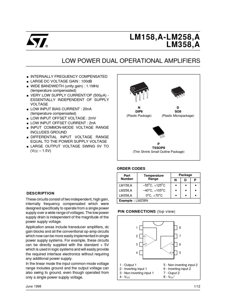 Lm358 Operational Amplifier Power Supply Single Ic Preamp By