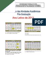 CALENDÁRIO PÓS-GRADUAÇÃO  (1ª Proposta)