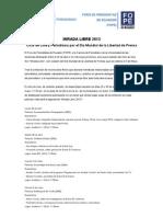 MIRADA LIBRE 2013 Ciclo de Cine y Periodismo por el Día Mundial de la Libertad de Prensa