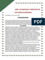 ACUERDOS SOBRE  DE IDENTIDAD Y DERECHOS DE LOS PUEBLOS INDÍGENAS