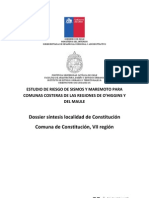 19. Comuna de Constitución Dossier. Estudio mitigación de riegos por efecto de Tsunami