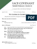 Worship Bulletin April 21, 2013