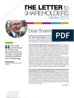Letter to Shareholders - Winter 2012