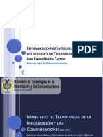 Entidades competentes del Estado en los servicios de Telecomunicaciones, en Colombia