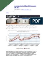 Caen los precios de exportación del gas boliviano para el 1er trimestre de 2013