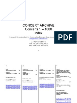 Concert Archive Concerts 1 – 1600 Index: 2 The Concerts 406