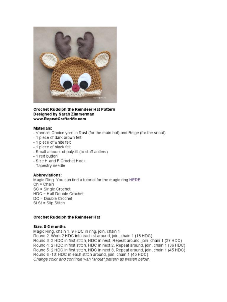 d11bbe46cc4 Rudolph the Reindeer Crochet Hat Pattern