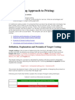 Target Costing Approach to Pricing