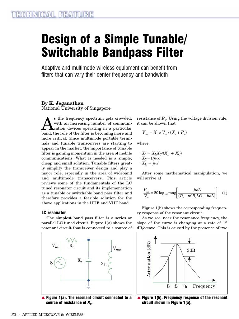 Amw0003 Design Of A Simple Tunable Switchable Bandpass Filter Band Pass Circuit Capacitor Electronic