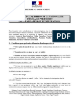 NANTERRE Naturalisation Par Decret Liste de Pieces Jan2012