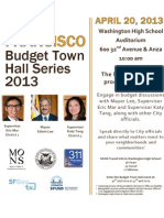 San Francisco budget town hall meeting flyer April 20, 2013