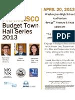 San Francisco budget town hall meeting flyer April 20, 2013