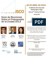 San Francisco budget town hall meeting flyer April 20, 2013 (Spanish)