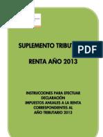 SUPLEMENTO TRIBUTARIO RENTA AÑO 2013
