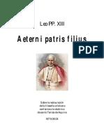 Enciclica Aeterni Patris Filius; Leo PP. XIII