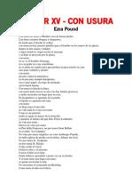 Cantar Xv - Con Usura - Ezra Pound