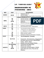 Programacion de Actividades 2013