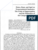 Abrams, Peirce, Kant & Apel (Transcendental Sematics, the Unity of Apperception & the Deduction of the Categories) [52 pgs]