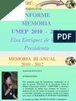 2012  INFORME MEMORIA DE LA UNIÓN DE MUJERES EMPRESARIAS DEL PERÚ