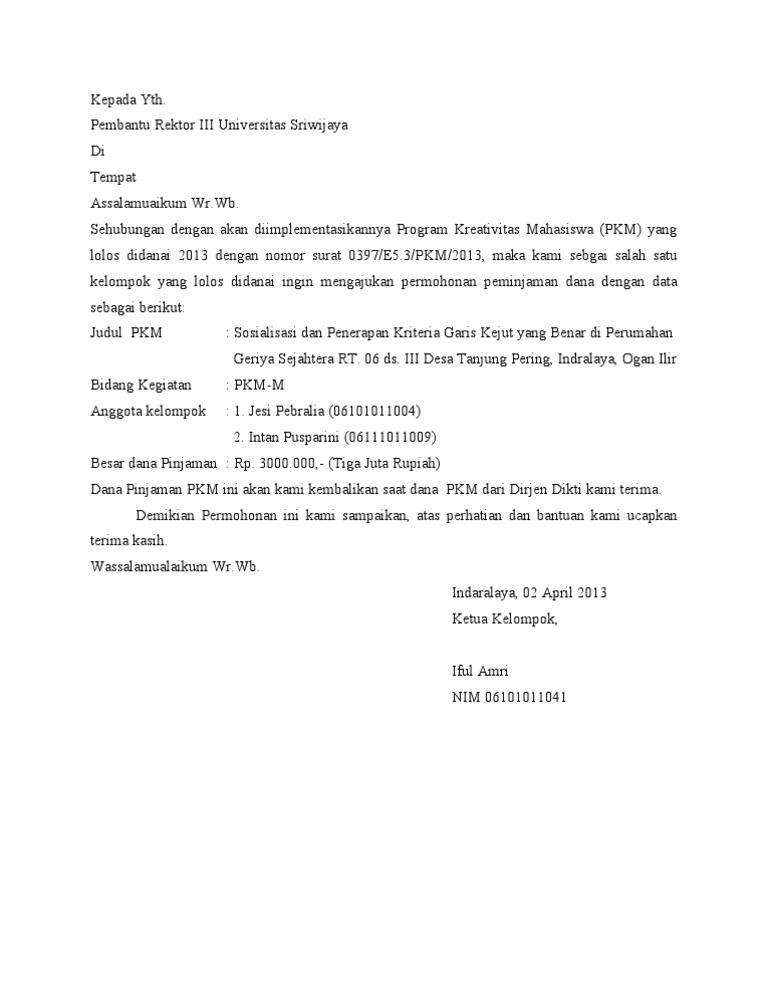 Format Surat Dana Talangan Pkm