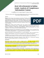 Pharmaceutical Advertisements in Indian Scientific Journals
