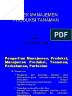 Aspek Manajemen Produksi Tanaman