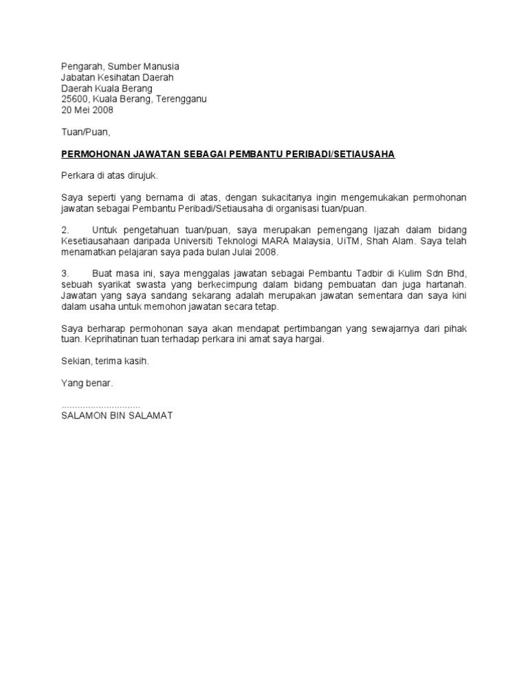 Contoh Surat Permohonan Kerja Di Malaysia