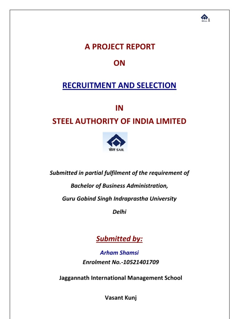 Internship project rreport on recruitment and selection in steel authority of india limited recruitment employment