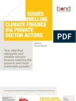 Critical Issues for Channelling Climate Finance Via Private Sector Actors