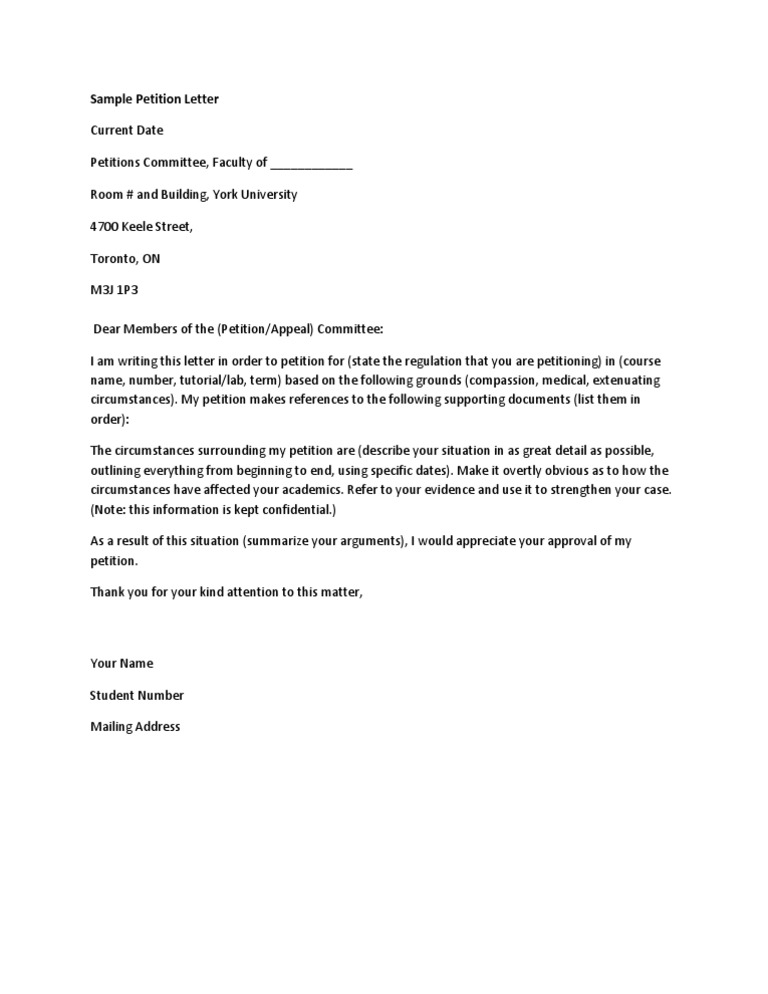 Petition Sample University   Petition Letter Format Petition